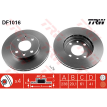 TRW - DF1016 - Féktárcsa első