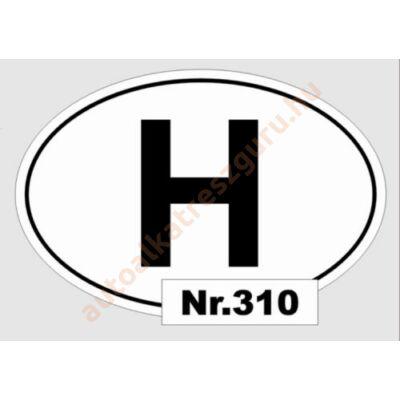 Matrica H kicsi ovál fekete-fehér