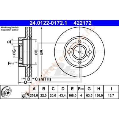 ATE - 24.0122-0172.1 - Féktárcsa első