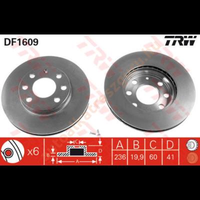 TRW - DF1609 - Féktárcsa első
