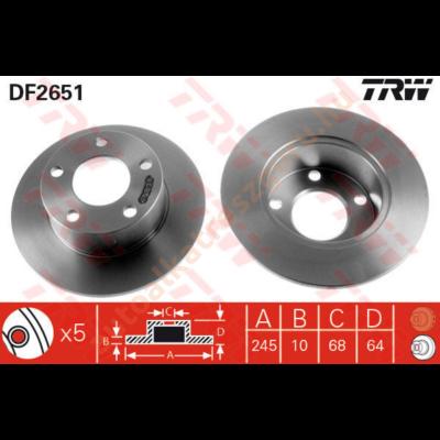TRW - DF2651 - Féktárcsa hátsó