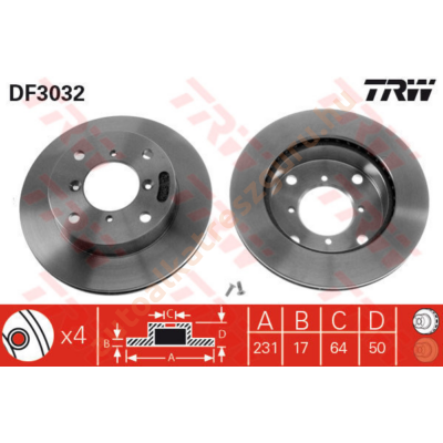 TRW - DF3032 - Féktárcsa első